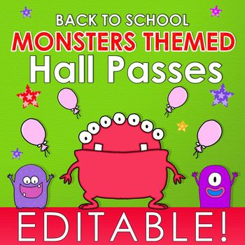 Monsters Themed Hall Passes - Editable - FREE
