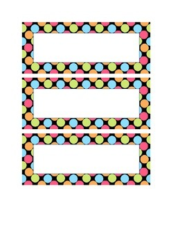 blank polka dot classroom labels