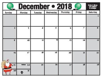 blank school calendar 2018-19