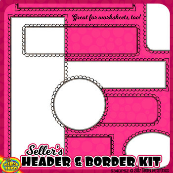 borders headers and frames clipart sellers set, black and white .png