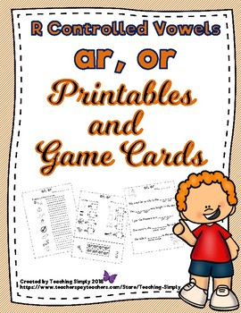 bossy r packet ar, or - r controlled vowels - RTI - struggling readers