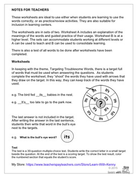 bought/brought - Targeting Troublesome Words Worksheets UK English