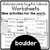 Boulder Red Word Activities for Centers