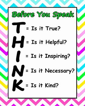 bright chevron THINK poster
