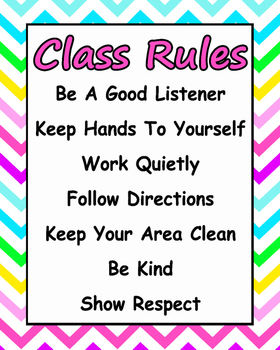bright chevron class rule poster