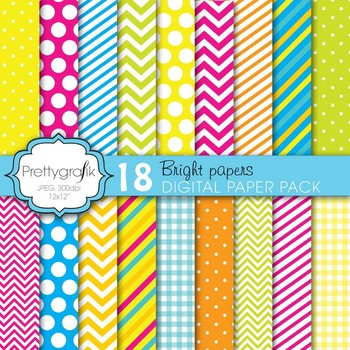 bright colors digital paper, commercial use, scrapbook papers - PS616