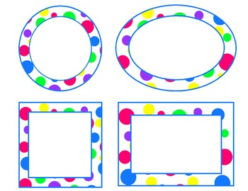 bright polka dot labels--blue accent (circle, oval, rectangle, square) EDITABLE