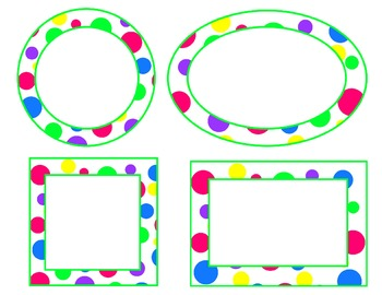 bright polka dot labels--green accent (circle, oval, rectangle, square) EDITABLE
