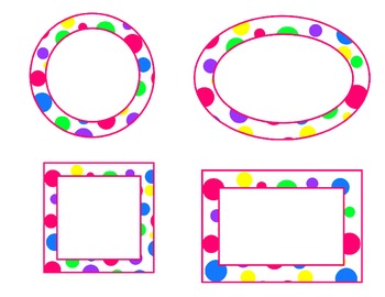 bright polka dot labels--pink accent (circle, oval, rectangle, square) EDITABLE