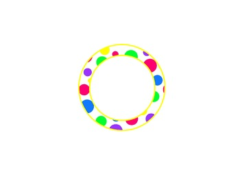 bright polka dot labels-yellow accent (circle, oval, rectangle, square) EDITABLE