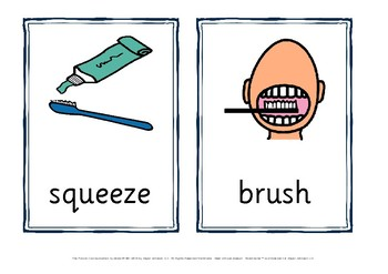 brushing teeth flashcards and sequence chart