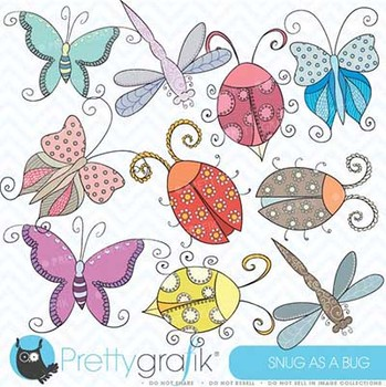 bugs & insects clipart commercial use, vector graphics, digital clip art - CL328
