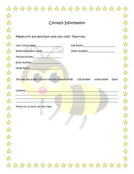 bumble bee themed parent contact
