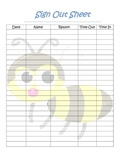 bumble bee themed student sign out sheet