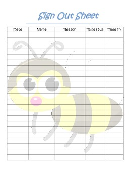 ... Bumble Bee Themed Student Sign Out Sheet