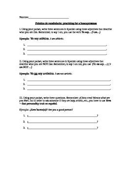 buscapersonas- descriptions prep sheet