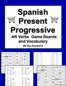 Spanish Present Progressive AR Verbs Board Games and Vocabulary