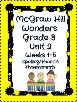 McGraw Hill Wonders Grade 3 Unit 2 weeks 1-5 Spelling/Phonics Quiz