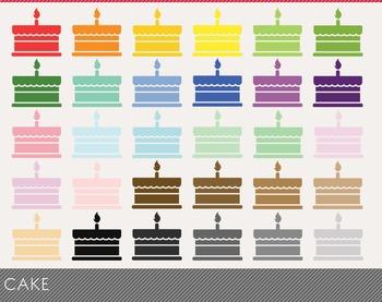 cake Digital Clipart, cake Graphics, cake PNG, Rainbow cake Digital Files
