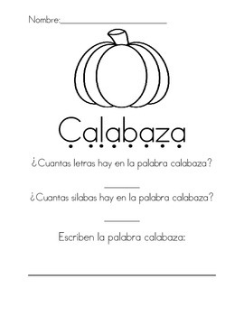 calabaza letras y silabas- pumpkin letters and syllables