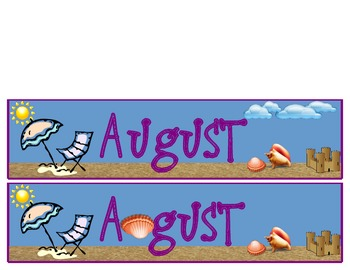 calendar month and days - August only