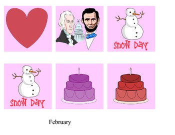 calendar month and days - February only