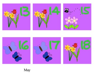 calendar month and days - May only