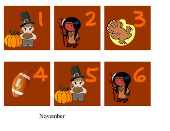 calendar month and days - November only