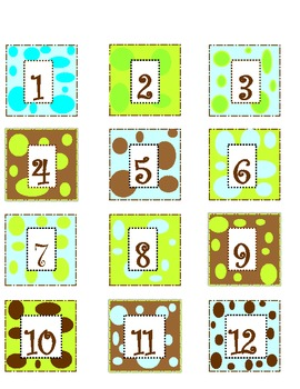 calendar numbers blue, green, and brown
