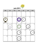 calendar with activities for day, date, time