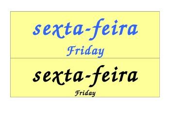 Days of the Week Calendar in Portuguese