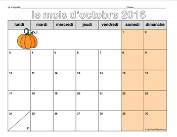 calendrier 2016-2017 (French monthly calendars August 2016-July 2017)