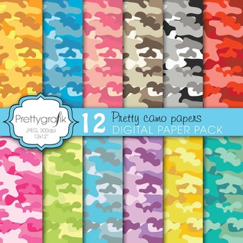 camouflage digital paper, commercial use, scrapbook papers