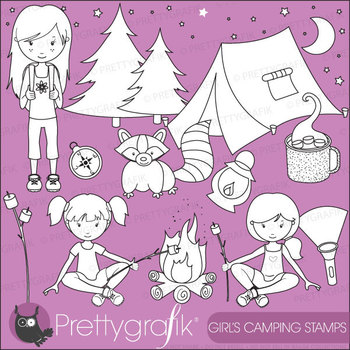 camping girl stamps commercial use, vector graphics, images - DS521