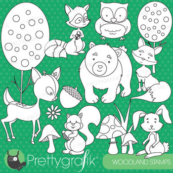 woodland animals stamps commercial use, vector graphics, images - DS576