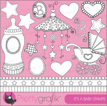 Baby girl stamps commercial use, vector graphics, images - DS387