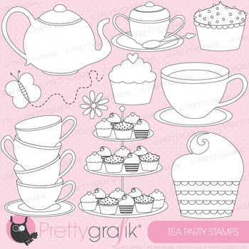 Tea party stamps commercial use, vector graphics, images - DS512
