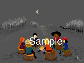 camping stick kids picture: fireside