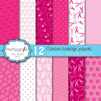 cancer ribbon digital paper, commercial use, scrapbook papers - PS608