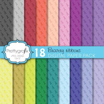 cancer ribbon digital paper, commercial use, scrapbook papers - PS606