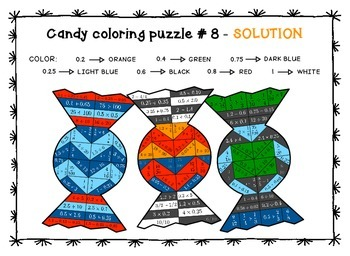 candy coloring math - fractions and decimals