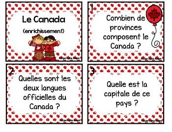 cartes à tâche - Le Canada (enrichissement)
