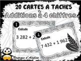 cartes à tâches: additions, à 4 chiffres