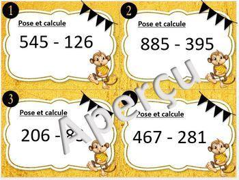cartes à taches: les soustractions à 3 chiffres avec retenues