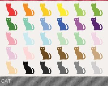 cat Digital Clipart, cat Graphics, cat PNG, Rainbow cat Digital Files