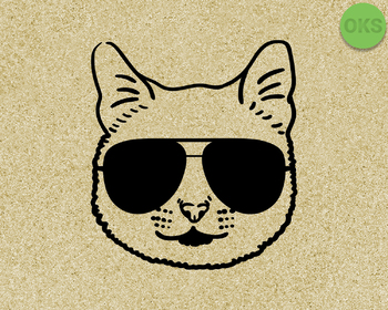 cat with sunglasses SVG cut files, DXF, vector EPS cutting file instant download