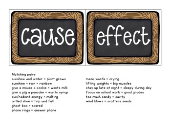 cause and effect: matching activity cards