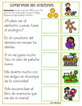 """centros de aprendizaje en español """"PARA LLEVAR"""" - Comprensión de oraciones"""