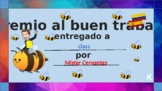 Certificate of awards for Spanish class in Elementary school (template)