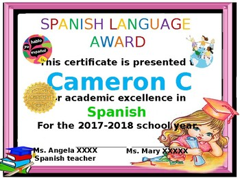 certificates for the Spanish class